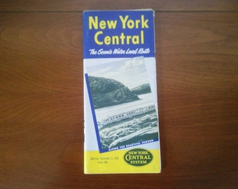 Vintage New York Central Timetable - New York Central Timetable