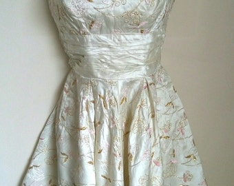 Vintage sixties satin embroidered dress size sml