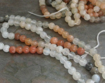 5-6mm Round Natural Multi-Moonstone Beads - 14 inch strand