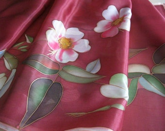Deep red silk scarf hand painted Botanical burgundy silk accessory - made TO ORDER