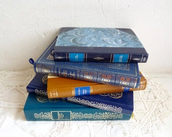 Vintage BOOK COLLECTION, Shades of Turquoise, Blue, and Light Brown with Gold Lettering. Decorative Book Set of 5, 1970s.