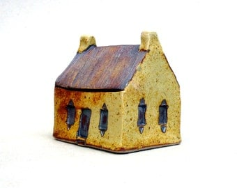 Yellow  House ,Miniature House , Fine Art Ceramics ,  Country Cottage