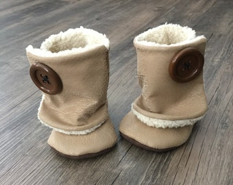 0-3 Month Tan Leather Baby Booties
