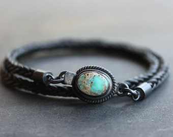 Turquoise Mens Bracelet - black braided leather turquoise and sterling silver mens jewelry cuff bracelet, gift for the guys