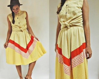 SHOP IS AWAY 1960s Yellow Printed Two Piece Panel Colorblock Skirt and Blouse Set