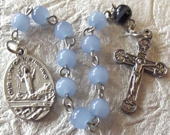 Our Lady of the Highway Periwinkle Blue Rosary Tenner