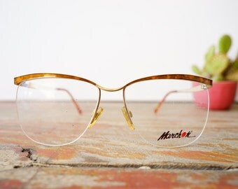 Vintage Eyeglasses 1990s Wire Rim Semi Rimless By Marchon Made In Japan Superb Frame New Old Stock