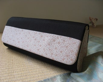 On sale, 20% Off ,Japanese Kimono clutch, handbag,Black/Soft Pink, #1