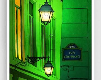 Quai Saint Michel (green version) - Paris illustration Fine Art illustration print Poster Architecture Home decor Wall art City print Tubidu