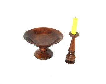 Vintage wooden fruits / candy bowl and candlestick Hand turned Rustic cozy home