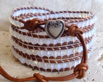 White Jade 4mm Faceted Gemstone Leather Wrap Bracelet
