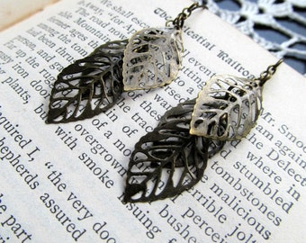 Bronze Leaf Cluster Earrings - Dainty Rustic Fall Earrings