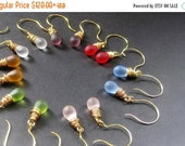 VALENTINE SALE Seven Pair of Teardrop Earrings for the Price of Six - Wire Wrapped Clouded Glass Earrings in Gold. Handmade Jewelry.