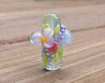 Lampwork Glass Cross Spring Flowers Easter Cross (MTO)
