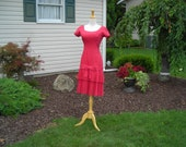 Reserved for Janet, 50's lucious raspberry cotton dress, hip band with two rows of pleated ruffles, show stopper , scoop neckline