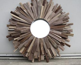 Natural Walnut Reclaimed Wood Sunburst Mirror, Farmhouse Wood Wall Art, Made to Order