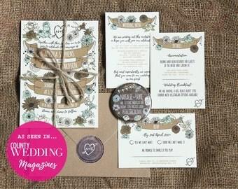 WHIMSICAL WOODLAND wedding invitation pack x 40