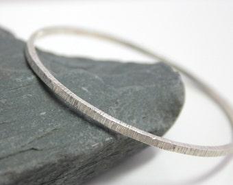 Stacking Bangle, Rustic Bracelet, Silver Bangle, Textured Bracelet, Thick Bracelet, Boho Bracelet,