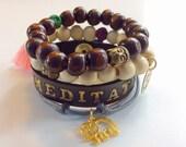 Inspirational stack bracelet set, yogi bracelet, namaste bracelet, beaded bracelet, meditation bracelet jewelry, buddha bracelet