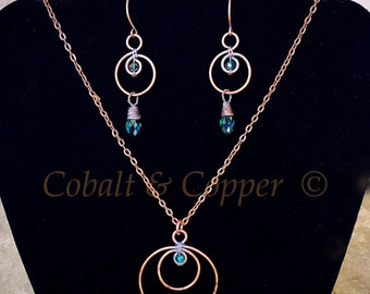 Teal Wire Wrapped Earrings & Necklace Set