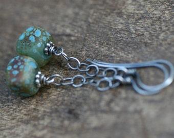 Rustic Acqua Lampwork earrings n.55 - dainty dangle . dangling from chain . ocean beach summer jewelry . Pacific ocean color . blue summery