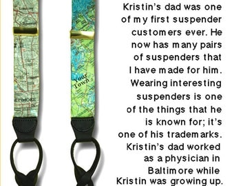 Custom MAP/LOCATION Suspenders OOAK Braces Vacation Special Wedding Groom Coordinates Button In