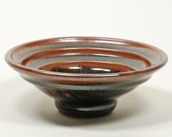 Tenmoku glazed serving bowl