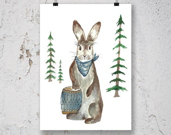 Rabbit Art Print - Drum Art - Woodland Nursery Decor - Forest Nursery Art - Woodland Animal Print - Watercolor Art Print - Baby Nursery Art