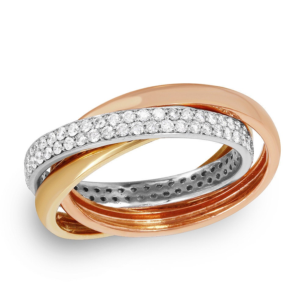 tri color solid gold ring with diamonds