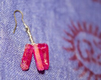 Pink Mermaid Quartz Earrings