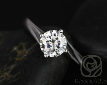 Rosados Box Souffle 6mm 14kt White Gold Round F1- Moissanite Single Twist Kite Solitaire Engagement Ring