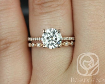 Rosados Box Eloise 7.5mm & Ultra Pte Bead Eye 14kt Rose Gold Round F1- Moissanite and Diamonds Wedding Set