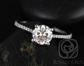 Rosados Box DIAMOND FREE Eloise 6.5mm 14kt White Gold Round F1- Moissanite and White Sapphires Cathedral Engagement Ring