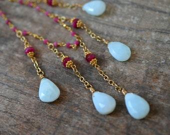 Blue opal dangle necklace Boho Peruvian opal teardrop necklace Ruby rosary chain Bib necklace Peru opal Gemstone waterfall necklace
