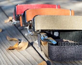 Taupe Herringbone Dog Collar, Fall Dog Collar, Autumn, Neutral Color, Adjustable, Metal Hardware
