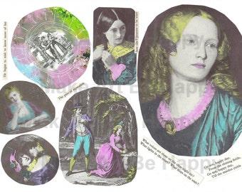 Collage sheet, journal sheet, romantic, vintage, Victorian, nr TH36, scrapbooking, art journaling