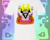 Spike Head Skeleton 3 color Neon White T Shirt