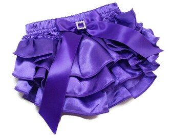 RUFFLE DIAPER COVER, Purple Satin Ruffled Diaper Cover with and Bow with Rhinestone Embellishment, Ruffled Baby Bloomers, Infant - Toddler