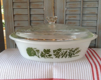 Glasbake Casserole Herb Pattern Baking Dish 1 Qt Oval with Lid White Green Retro Kitchen Cookware Serving Bowl Milkglass Fire King