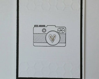 Embossed Black and White Camera Card