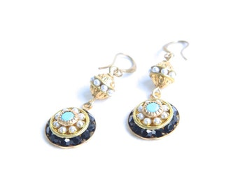 Elegant Black Turquoise and Pearl Vintage Swarovski Crystal Party Earrings