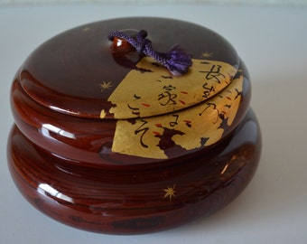 Urushi lacquered wooden bowl, vintage tea ceremony wagashi sweets bowl, two tiered
