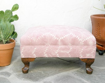 Upcycled Rose Quartz Ottoman with Hand dyed Shibori Fabric Rose Quartz Fabric Nui Shibori Footstool Small Vintage Foot Stool Tribal