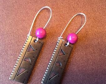 Siver Ruler Earrings, Pink Beads, Mathematical, Punk Earrings, Gift Box