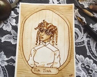 Tia Tina - A Steampunk Family Portrait - Original Sepia Ink Art