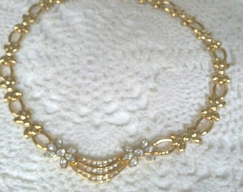 Beautiful Vintage 90s Monet Rhinestone Choker, Signed , Statement Necklace, Gold Choker, Gift for Women