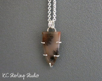Russian dendritic agate and sterling silver pendant necklace - metalsmith silversmith
