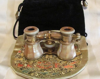Antique Colmont FI Paris Mother of Pearl Opera Glasses w/MOP Handle and Pouch Binoculars Field Glasses 1800s Victorian Excellent Condition