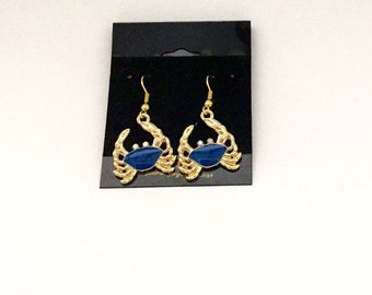 Blue and gold crab dangle earrings