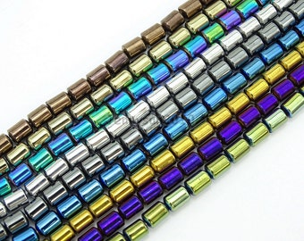 Natural Non-Magnetic Metallic Colors Hematite Gemstone 4mm x 5mm Tube Beads 16'' For Jewelry Making Crafts Design